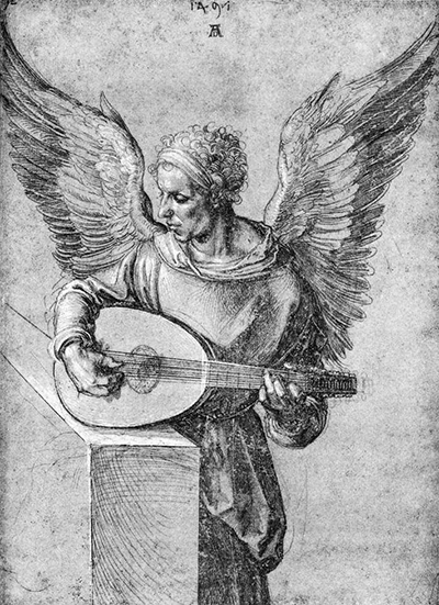 Winged Man Playing Lute Albrecht Durer